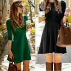 Fashion Women's 3/4 Sleeve Draped Cross Front Casual Pleated Mini Dress S0BZ