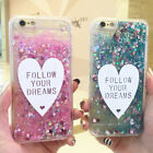 Dynamic Glitter Quicksand Bling Liquid Love hard Case Cover For iPhone 8 8Plus X