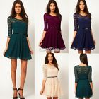 Women's Floral Lace 3/4 Sleeve Cocktail Evening Party Casual Skater Mini Dress