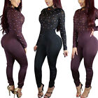 2017Sexy New Women Ladies Beading See through Party Club Jumpsuit Playsuit Pants