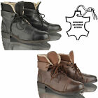 MENS LEATHER CASUAL BIKER COMFORT FUR ANKLE LACE WINTER BOOTS SHOES SIZE