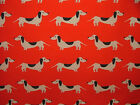 """Red """"HOT DOG DACHSHUND"""" Fabric Multi Use Curtain Blinds Quilting Craft Patchwork"""
