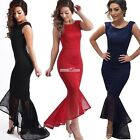 Womens Bodycon Package Hip Ruffles Prom Party Bridesmaid Evening Long Dress SZ