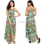 Women Loose Chiffon Halter Sleeveless Irregular Hem Floral Long Maxi Dress S0BZ