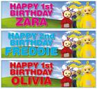 "2 PERSONALISED 36"" x 11"" TELETUBBIES BIRTHDAY BANNERS"