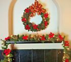 "Pre-Lit Artificial 24"" Wreath & 9' Ft Garland Pinecone Berry Poinsettia 2 Pc Set"