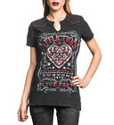 Affliction Women Shirt Live Fast Heart Cross Lace Back Keyhole Neck S/s Black