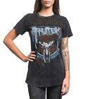 Affliction Women Shirt American Customs Western Skull Roses Lace S/s Black Lava