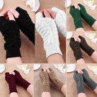 Fashion Women Knitted Fingerless Winter Gloves Soft Warm Mitten Solid 7 Color