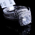 Ladies 14K White Gold Fn Lab Diamond Round Cut Solitaire Bridal Ring Two Band