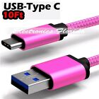 10FT Nylon Braided Rope USB-C Type-C 3.1 Data Sync Charger Charging Cable Pink