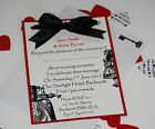Vintage ALICE IN WONDERLAND wedding POSTCARD Invitations & Inserts ;60 colours
