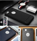 Brushed Drawing Armor Soft Rubber Slim Cover Case & Tempered Glass for Phones