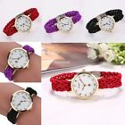 New Women Fashion Casual Plait Alloy Band Round Dial Button Quartz Watch EN24H