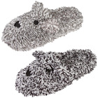 Womens 3D Novelty Mules Soft Faux Fur Marl Teddy Bear Slippers Xmas Gift Size