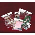 LOT OF 100 JEWELRY OPP BAGS w/HANGING HEADER CLEAR BAGS POLY BAGS SELF SEAL BAG