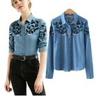 Embroidery Floral Jeans Denim Shirt Long Sleeve Women Top Vintage Style
