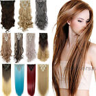 100% Real as remy human Hair Clip in Full Head Hair Extensions Extentions 8pcs