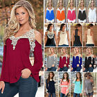 Women Fashion Lace Crochet T-Shirt Tank Vest Tops Ladies Casual Loose Tee Blouse