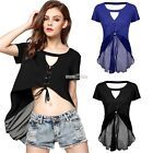 Women Casual Top Sexy Key Hole Bandage Hem Blouse S0BZ