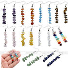 Pair Chakra Silver Crystal Quartz Gemstone Ear Drop Dangle Hook Earrings Jewelry