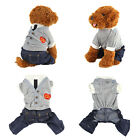 Dog Puppy Pet Cat Clothes Jumpsuit Soft Spring Apparel Preppy Style Costume New