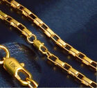 18k Yellow Gold Women's Men's Cuban Box Link Chain Necklace 8