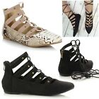 Ladies Women Flat Lace Up Pointed Toe Slipon Casual Gladiator Ballet Pumps Shoes