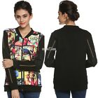 Women Casual O-Neck Long Sleeve Print Patchwork Jacket Coat S0BZ