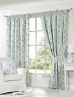 Pippa Duck Egg Curtains Floral Pink Cerise Blue Green Leaves Pencil Pleat