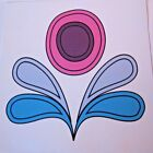 """Girls FLOWER Fabric Quilt Square 6.5"""" Pink White Turquoise Blue Bright Retro"""