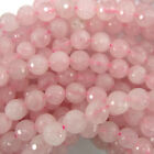 "Faceted Pink Rose Quartz Round Beads Gemstone 15"" Strand 4mm 6mm 8mm 10mm 12mm"