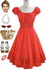 50sStyle WARM RED &White POLKA Dot PLUS SIZE Peasant Top On/Off T/Shoulder Dress
