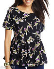 Ladies New LabelBe Black Swan Printed Peplum Style Top 12 18