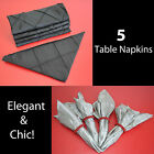 NEW Satin Black Silver Gray Visual Line Pattern Square Table Napkins set of 5 pc