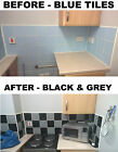 """Black & Grey Stickers Stencils Transfers for 4"""" x 4""""  Tiles 100mm Square 4 Inch"""