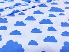 LOVELY ,blue clouds on white new design FABRIC 100%COTTON 160cm wide