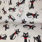 LOVELY, Black and White Cats on Grey FABRIC 100%COTTON 160cm wide