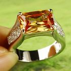 Women Men Cocktail Jewelry  Emerald Cut Morganite Gemstones Silver Ring Size 9