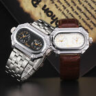 Men's Stainless Steel Leather Oversized Quartz Analog Dual Time Army Wrist Watch