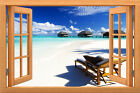 Wall sticker, 3D window, Removable, Reusable,wood or vinyl frame Ocean style 010