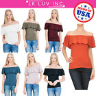 Made in USA -Women's Natural Bamboo Off Shoulder Ruffle Overlay Top  - Plus Size