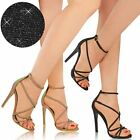 Womens Ladies Glitter Stiletto High Heel Barely There Strappy Party Sandals Size