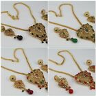 Chain Pendant Gold Plated New Women Necklace Set Earring Polki
