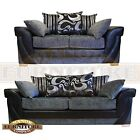 LUSH GREY BLACK FABRIC SOFA  2 and 3 SEATER  SWIRL AND STRIPE SCATTER CUSHIONS