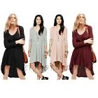 Long Sleeve Stretch Loose Cocktail Party Summer Beach High Low Knit Hooded Dress