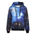 Women Men Blue Galaxy Space 3D Print Jumper Hooded Pocket Hoodies Top Sweatshirt