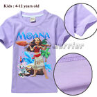Girl Kids Moana Purple T-shirt Summer Short Sleeve Top Sweatshirt Children Cloth