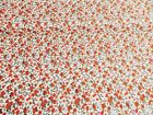 NEW Vintage PolyCotton FLORAL Fabric Orange FLOWER Craft Metre Reduced Prices