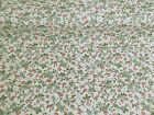 NEW Vintage PolyCotton FLORAL Fabric Green FLOWER Craft Metre Reduced Prices